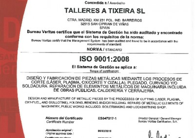 Certificado ISO 2016, A Tixeira